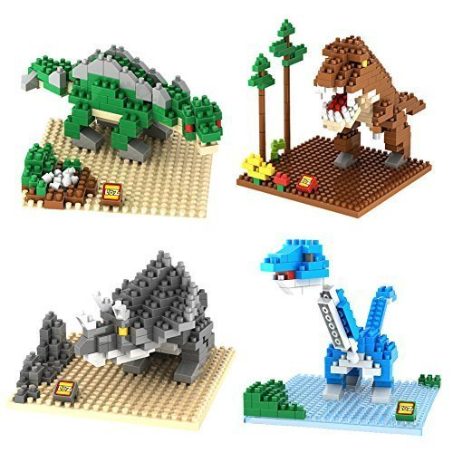 LOZ Diamond Block Tyrannosaurus/Triceratops/Stegosaurus /Brontosaurus DIY Educational Jurassic Park Building Blocks Toys -4 box