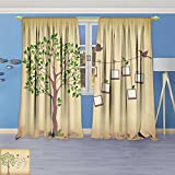 SOCOMIMI 3840 Panel Set Digital Printed Window Curtains Memories Tree withframes Insert Your Photos into Frames for Bedroom Living Room Dining Room 96W x 72L inch