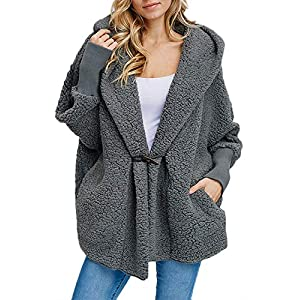 b1bb644311 luvamia Women s Casual Hooded Faux Fur Button Coat Oversized Pocket  Outerwear