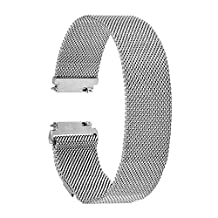 TRUMiRR 22mm Milanese Loop Strap Stainless Steel Watch Band Bracelet for Samsung Gear S3 Classic Frontier, Gear 2 R380 R381 R382, Moto 360 2 46mm Men, Asus Zenwatch 1 2 Men, Pebble Time, LG G Watch Urbane,Silver