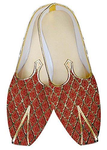 INMONARCH Hombres Dorado y Rojo Zapatos de Boda MJ011313