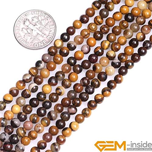 Calvas 4mm Natural Brown Round Iron Zebra Jaspers Stone Gem Stone Semi Precious Beads Loose Bead for Jewelry Making 15 Inch Wholesale - (Color: 4mm)
