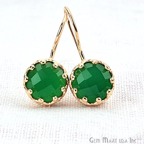 Green Onyx Loop Earring, 29x13mm 24k Gold Plated Gemstone Fancy Stud/Earring (GOER-90150) ()