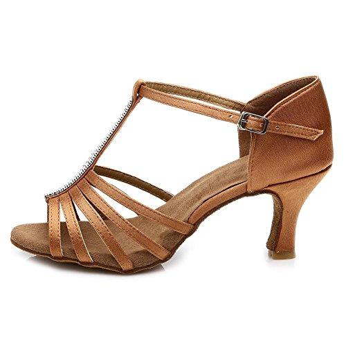 7cm Schuhe Damen Latin Satin Standard SWDZM Tanzschuhe Dance Absatz Ballsaal Modell Braun D227 Ausgestelltes q4YxSxOwdp