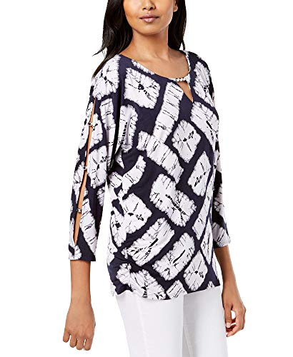 JM Collection Printed Bead-Embellished Tunic (Block Tie Dye, XL)