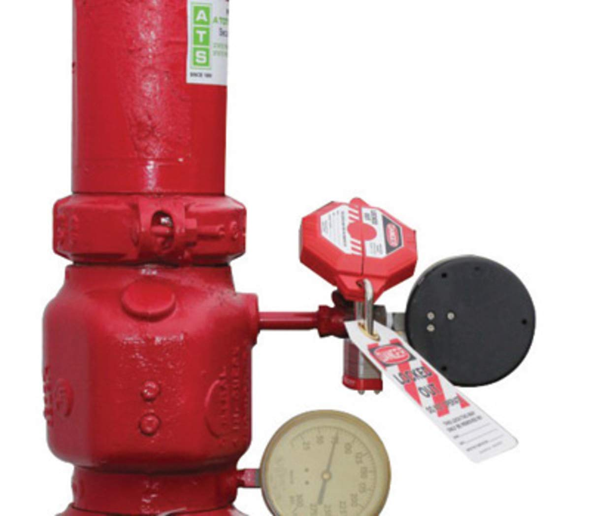 Accuform Signs Red Plastic StopOut Gate Valve Lockout With (3) Shackle Holes (Fits 5'' - 6 1/2'')