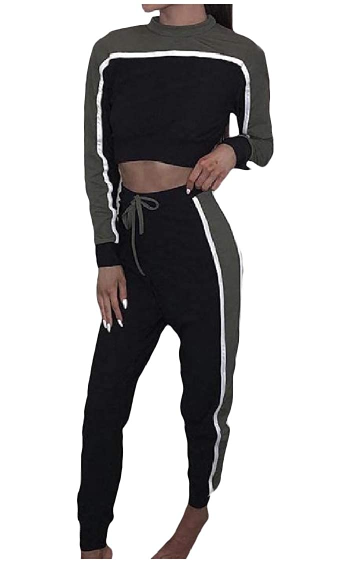 DressU Womens Hit Color Autumn Long Sleeve Tops Jackets and Sweatpants Outfit