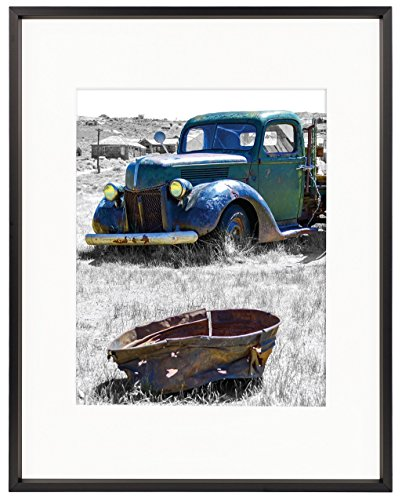 Golden State Art 11x14 Classic Satin Aluminum Landscape Or Portrait Photo Frame With Ivort Color Mat For 8x10 Photo & Real Glass (Black) (State Landscape Frame Picture)