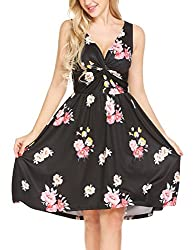 Se Miu Womens Floral Print V Neck A Line Party Casual Swing Dress
