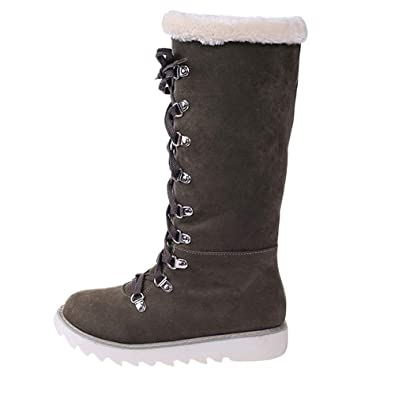 Damen Gefüttert Schneeschuhe Stiefel Stiefeletten Boots Schnürschuhe Winter