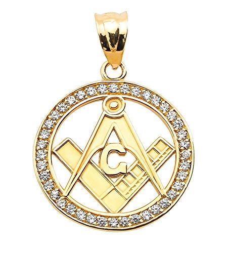 14 ct 585/1000 Or Jaune Diamants Occupe Maconique Pendentif