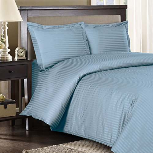 King Comforter Ensemble (Ultra Soft & Exquisitely Smooth, Genuine 100% Egyptian Cotton 1200 Thread Count Bed In a Bag, Lavish Sateen Stripe Bed Ensemble Includes Sheet Set, Duvet Cover Set and White Down Alternative Comforter (Duvet Insert), 8 Piece King Size Bed In a Bag, Stripe, Blue)