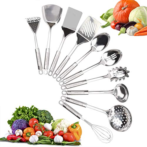 Kitchen Utensil Set - Stainless Steel Cookware Set -10 Piece Durable & Long Lasting Cooking Spoons - Non-Stick and Dishwasher Safe - Premium Quality Kitchen Accessories - Elegant Design