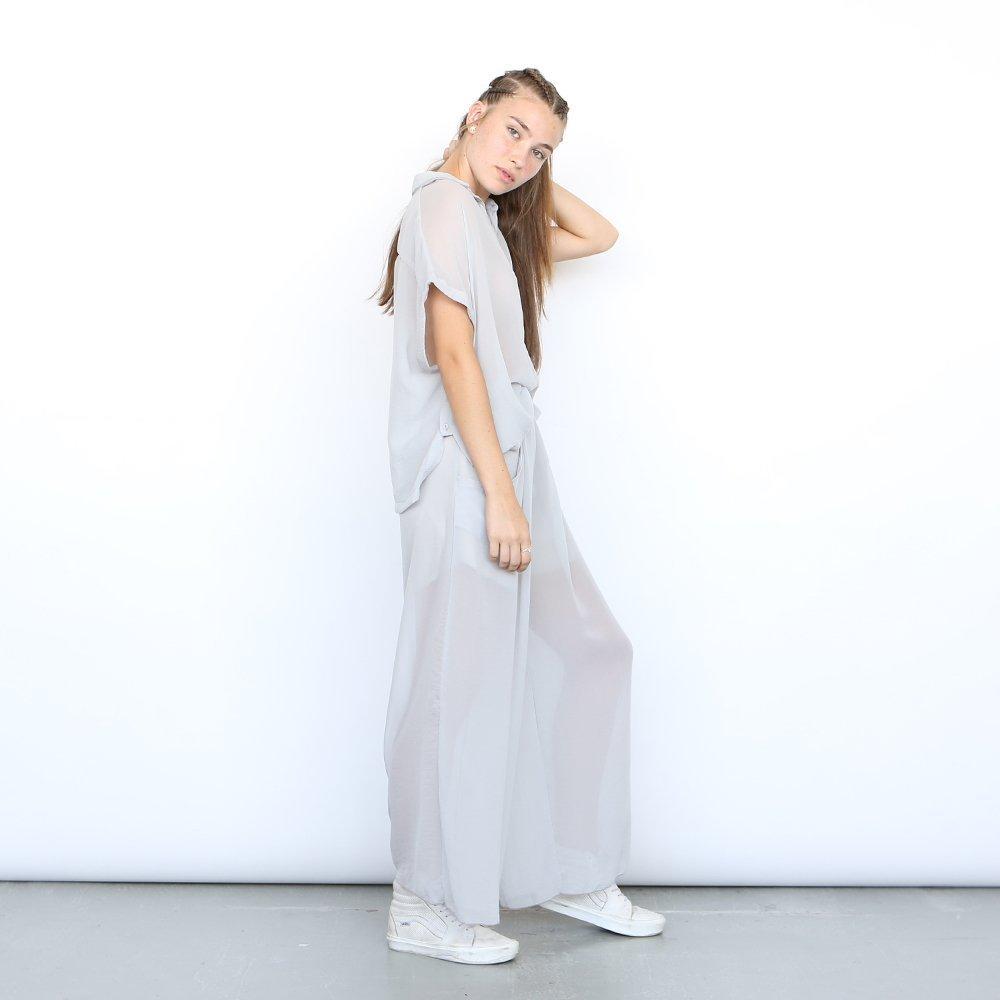 High Waist Sheer Trousers, sheer pants , Light grey .