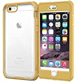 iPhone 6 Plus Case, roocase [Glacier TOUGH] iPhone 6 Plus (5.5-inch) Hybrid Scratch Resistant Clear PC / TPU Armor Full Body Protection Case Cover with Built-in Screen Protector for Apple iPhone 6 Plus 5.5, Champagne Gold