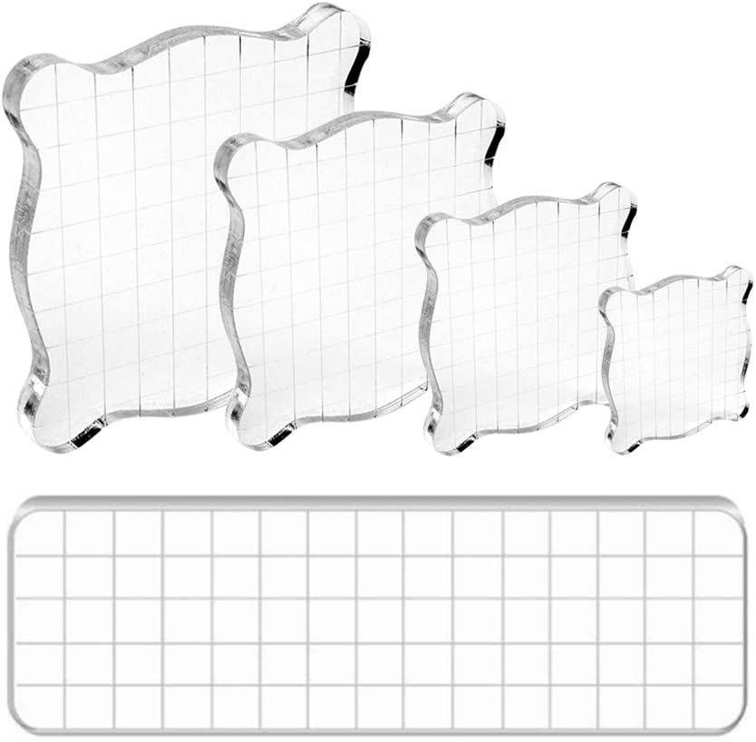 Acrylic Stamp Block 5 Pcs Clear Stamping Tools with Grid Lines Assorted Sizes for Scrapbooking DIY Crafts Cards Making Seal Stamps for Diary Journal Decoration