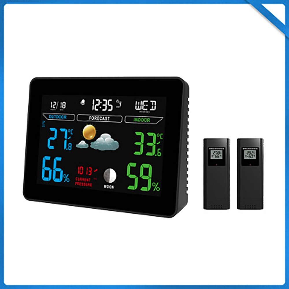 WEIWEI Thermometer Digital Hygrometer, Room Thermometer 12/24 Hour Time Clock, Temperature Humidity Monitor Home, Babyroom, Office, Greenhouse, Cellar, Black by WEIWEI