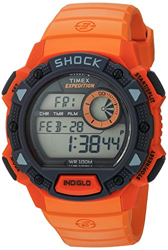 (Timex Men's TW4B07600 Expedition Base Shock Orange/Gray Resin Watch)