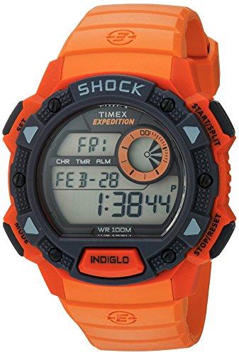 Timex Men's TW4B07600 Expedition Base Shock Orange/Gray Resin Watch (Resin Orange Watch)