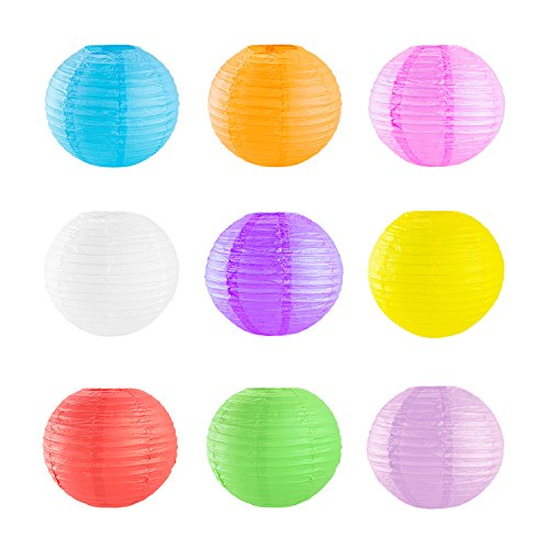 10' Assorted Colorful Chinese/Japanese Hanging Paper Lanterns Metal Frame for Parties, Home Lamps, Event Decoration (8 Pack)