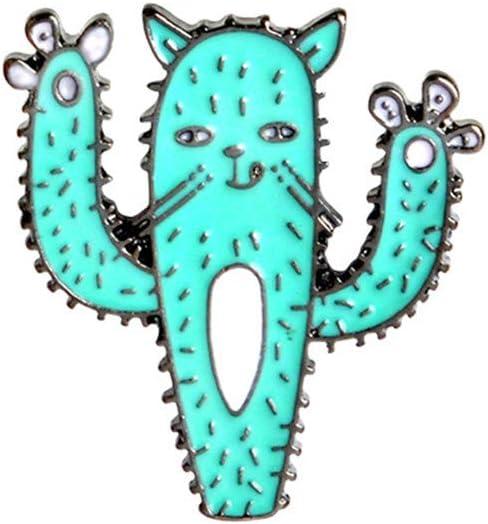 JIFNCR Causual /Émail Broche Dessin anim/é Chat Collier Revers /Épingles Badge Cadeau Cactus Poitrine Broche Anniversaire Cadeau Festival D/écor