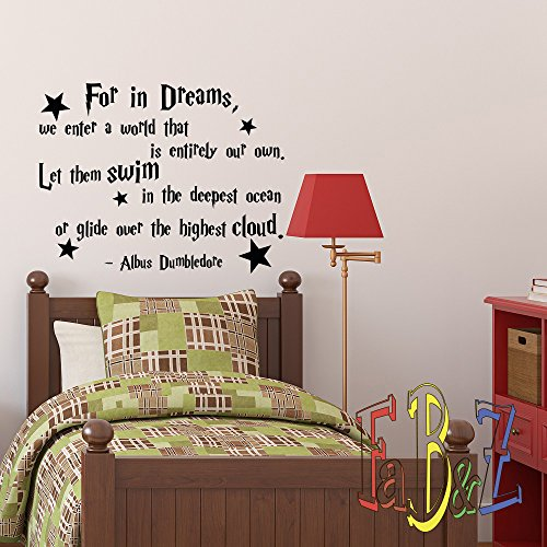 Wall Decals Quotes Albus Dumbledore For In Dreams We Enter A World Harry Potter Wall Decal Nursery Kids Baby Home Decor Vinyl Lettering Q110 by FabWallDecals