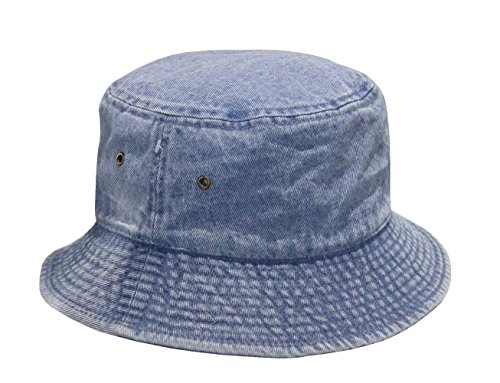 Short Brim Visor Cotton Bucket Sun Hat Light Denim Blue Small/Medium (Blue Denim Bucket Hat)