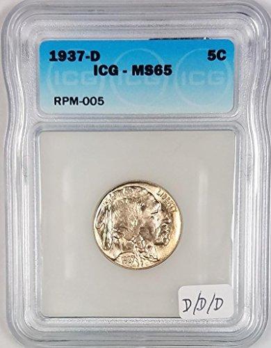 1937 D Buffalo ICG Certified; D/D/D Mintmark; RPM-005 Nickel MS-65