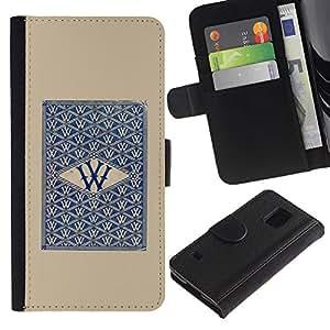 EuroTech - Samsung Galaxy S5 V SM-G900 - W Cards Win Poker Gaming Casino Blue - Cuero PU Delgado caso Billetera cubierta Shell Armor Funda Case Cover Wallet Credit Card