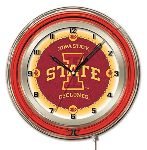 Iowa State Cyclones HBS Neon Red College Battery Powered Wall Clock (19