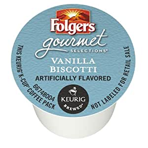 Folgers Vanilla Biscotti Flavored Coffee, K-Cup Pods for Keurig K-Cup Brewers, 12-Count (Pack of 6)