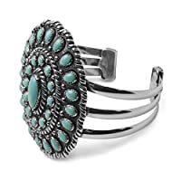 Sterling Silver Kingman Turquoise Statement Cuff by Relios