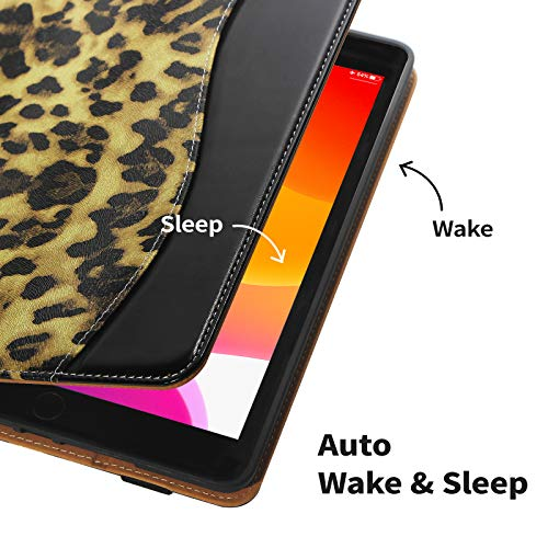 CASIRENA Leopard Case for iPad 10.2, with Built-in Pencil Holder, Premium PU Leather Cover for iPad 8/7 Generation, Soft TPU Back Cover Case for iPad 10.2 inch/iPad 8th Gen/iPad 7th Gen