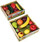 Melissa & Doug Play-Time Produce Fruit (9 pcs) and Vegetables (7 pcs) Realistic Play Food