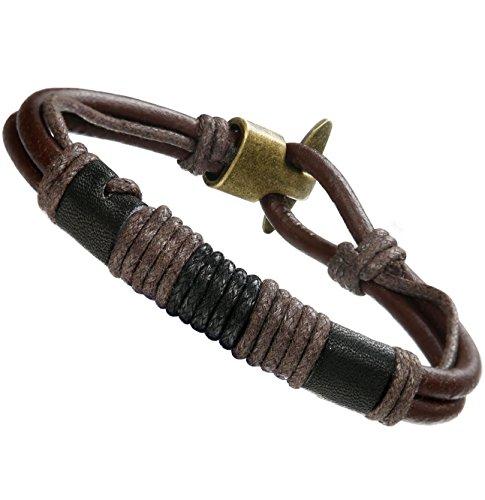 Besteel Alloy Vintage Leather Bracelet for Men Wrist Wraps Genuine Leather Rope Bracelet Set, Deep Brown 8.5 inches