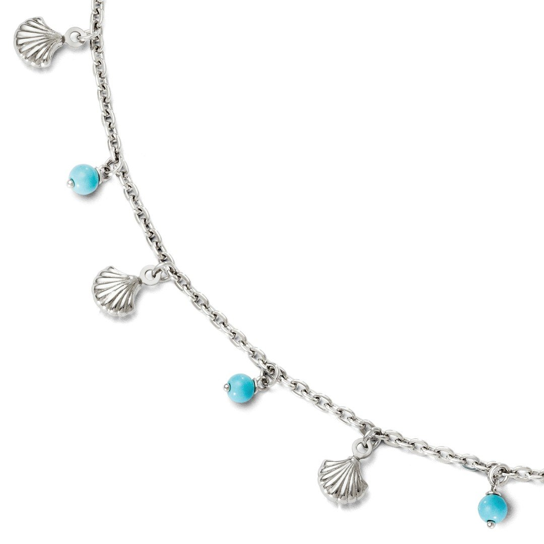 Ankle Bracelet Foot Jewelry Anklet - ICE CARATS 925 Sterling Silver Blue Turquoise Anklet Ankle Beach Chain Bracelet Adjustable Plus Size Extender 9 10 Fine Jewelry Ideal Gifts For Women Gift Set
