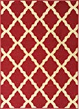 Ottomanson Ottohome Collection Contemporary Morrocan Trellis Design Non-Skid (Non-Slip) Rubber Backing Area Rug, 8'2'' X 9'10'', Red
