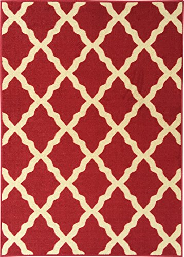 Ottomanson Ottohome Collection Contemporary Morrocan Trellis Design Non-Skid (Non-Slip) Rubber Backing Area Rug, 8'2'' X 9'10'', Red by Ottomanson