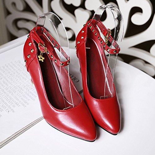 Sexy Talons De Demoiselle Rouge Haut Peu Hauteur De 8Cm De Boucle Chaussures Bouche Pendentif Femmes Pompes XL Pointy Chaussures Mariée D'honneur Mode Profonde Talons Exquise Mariage Talon De Pu YAT4qw