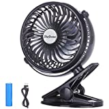 Battery Operated Clip on Fan,Mini Desk Fan Portable Handheld Powered by Rechargeable Battery or USB,Small Personal Electric Fan for Baby Stroller Car Laptop Table Workout Camping Outdoors Home Office