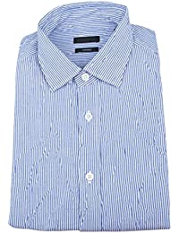 Z Zegna Blue Striped Cotton Blend Tapered Fit Casual Shirt Size Small