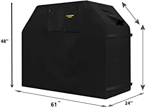 "Felicite Home Grill Cover Up to 61"" Wide, Water Resistant, Air Vents, Padded Handles, Elastic Hem Cord - Heavy Duty Burner Gas BBQ Grill Cover, Black"
