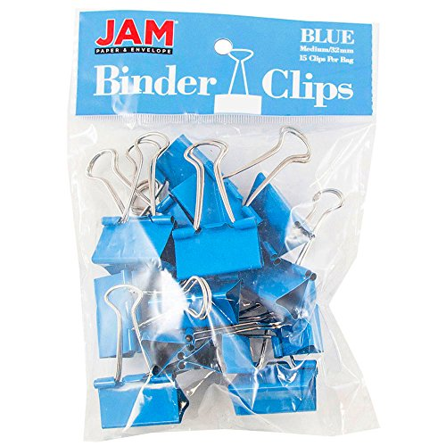 JAM Paper Binder Clips - Medium - 32mm - Blue Binderclips - 15/pack