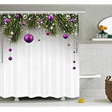 Ambesonne Christmas Shower Curtain by, Tree with Tinsel and Ball with Present Wrap Ribbon Celebration Picture, Fabric Bathroom Decor Set with Hooks, 84 Inches Extra Long, Purple Grey Green