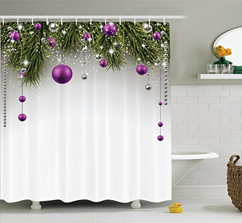 Christmas Decorations Shower Curtain Set by Ambesonne, Christmas Tree Decorations Tinsel and Balls with Gift Wrap Ribbon Picture, Bathroom Accessories, 75 Inches Long, Purple Grey Green