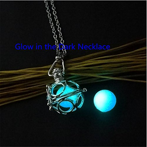 Teal Ornate Glowing Orb Pendant Necklace Locket Antique Silver Tone, Romantic Gift for Her, glow Jewelry