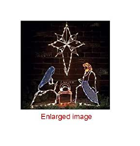 CHRISTMAS LIGHTED NATIVITY AND STAR great in your window, fireplace mantel