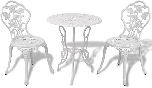 Lingjiushopping Mesa y sillas bistro de jardin 3 piezas blanco alumino fundido Material de las patas de la mesa/silla: Hierro fundido: Amazon.es: Jardín
