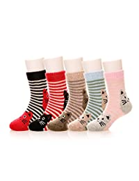 Eocom 5 Pairs Children's Winter Warm Wool Animal Crew Socks Kids Boys Girls Socks