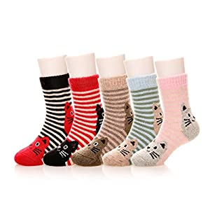 Eocom 6 Pairs Children's Winter Warm Wool Animal Crew Socks Kids Boys Girls Socks